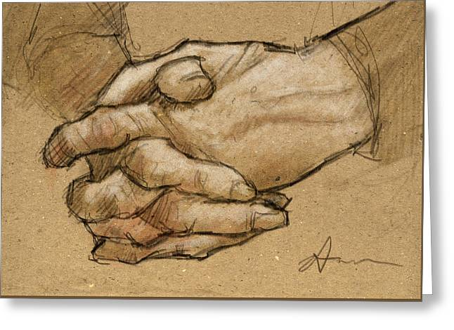 Hanna's Hands Greeting Card by H James Hoff