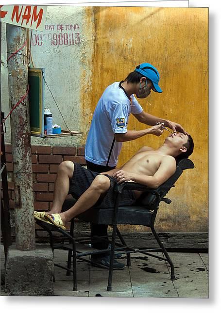 Hanoi Barber Greeting Card