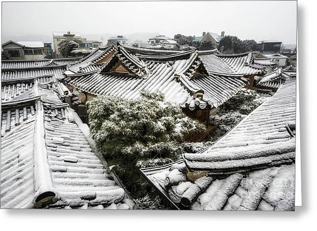 Hanok Winter Greeting Card by Aaron Choi