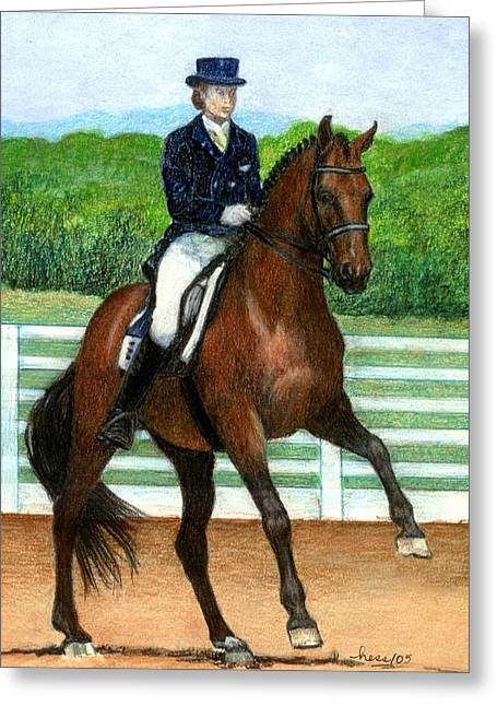 Hanovarian Dressage Horse Portrait Greeting Card by Olde Time  Mercantile