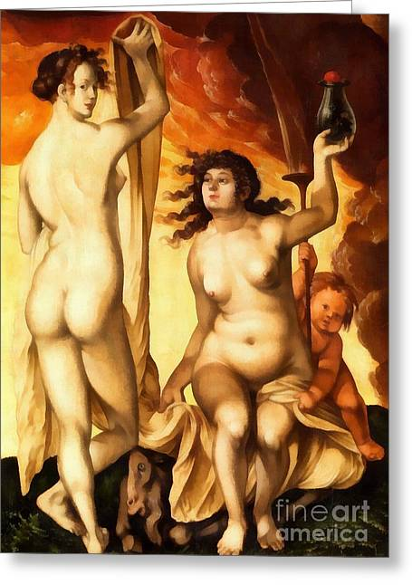 Hans Baldung Griens Weather Witches1523 Greeting Card