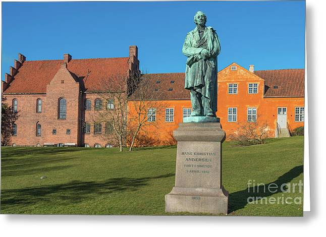 Hans Christian Andersen Statue  In Odense, Dernmark Greeting Card by Frank Bach