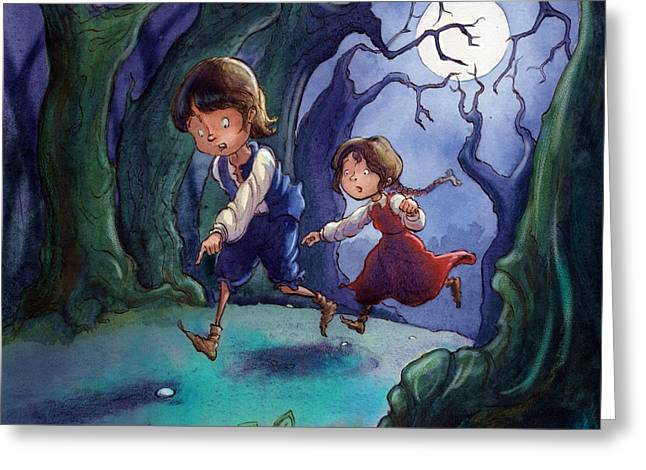 Hansel And Gretel Pebbles Greeting Card
