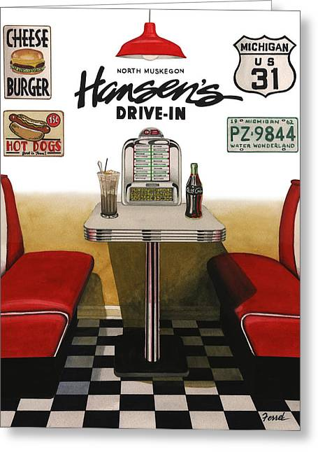 Hansen's Drive-in Greeting Card by Ferrel Cordle