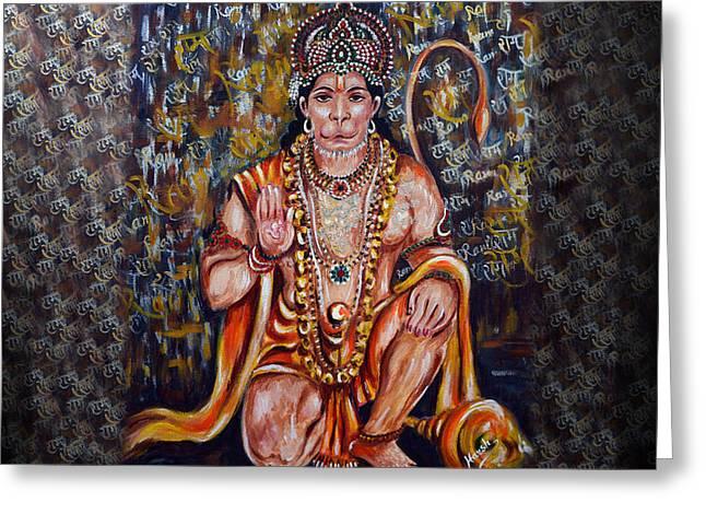 Hanuman - Super Hero - Self Less Devotion Greeting Card by Harsh Malik
