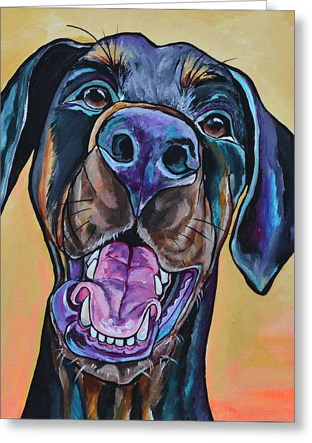 Greeting Card featuring the painting Happiness Is A Dog by Patti Schermerhorn