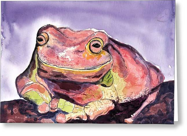 Happiness Is A Frog Greeting Card by Myrna Migala