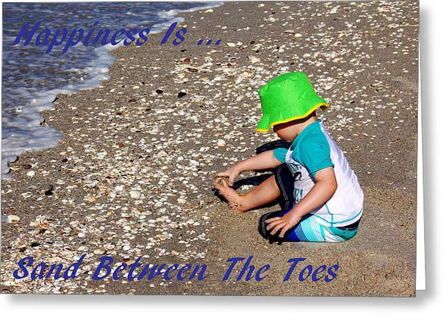 Happiness Is...sand Between The Toes Greeting Card by Debbie Oppermann