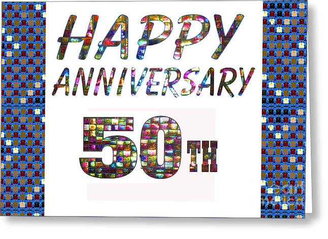 Special Occasion Greeting Cards - Happy 50 50th Anniversary Celebrations design on Greeting Cards t-shirts pillows curtains  Greeting Card by Navin Joshi
