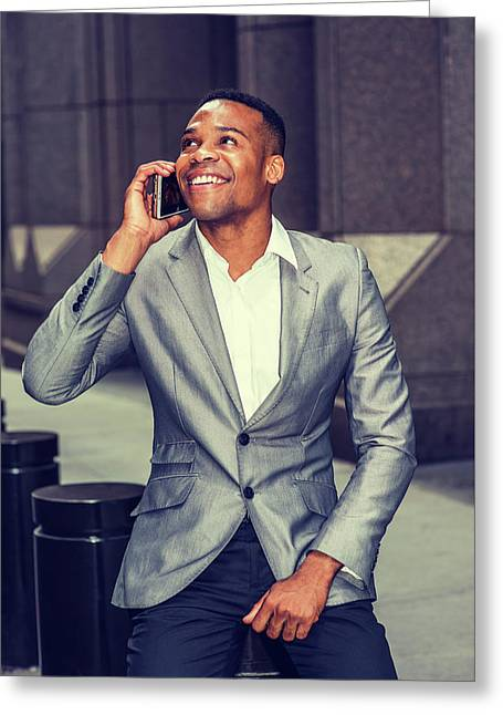 Happy African American Businessman Working In New York 15082323 Greeting Card