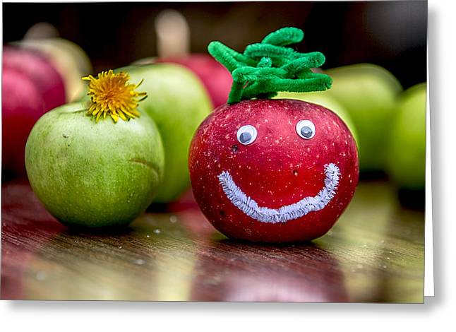 Happy Apples Greeting Card by John Haldane