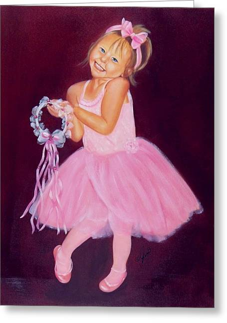 Greeting Card featuring the painting Happy Ballerina by Joni McPherson