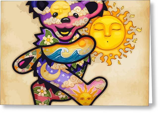 Happy Bear And Sun Greeting Card