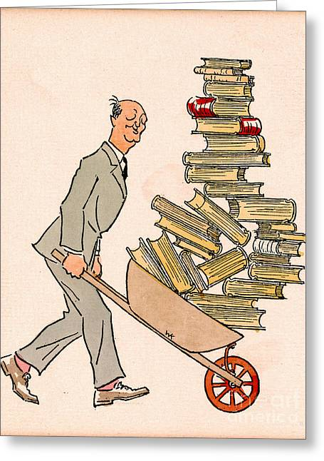 Greeting Card featuring the drawing Happy Bibliophile 1930 by Padre Art