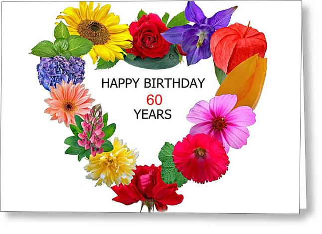 Happy Birthday 60 Years Greeting Card by Manfred Lutzius