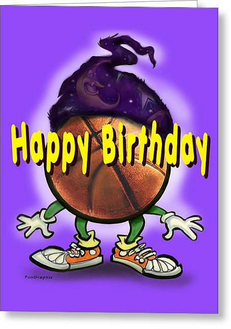 Happy Birthday Basketball Wiz Greeting Card by Kevin Middleton