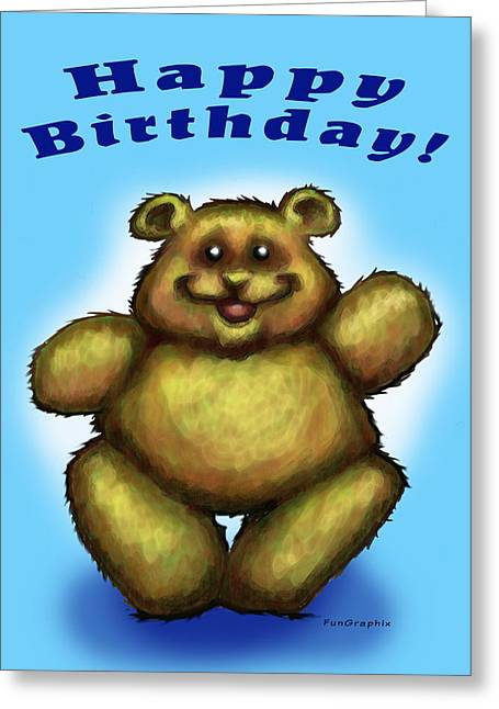 Happy Birthday Bear Greeting Card by Kevin Middleton