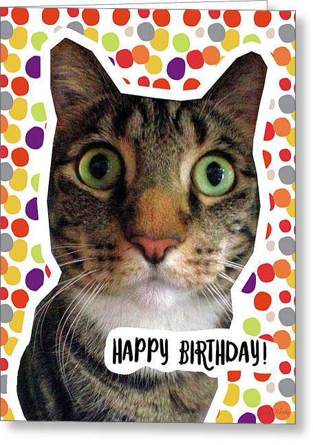 Happy Birthday Cat- Art By Linda Woods Greeting Card