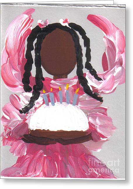 Happy Birthday From The Cake Angel Greeting Card by Roz Roy