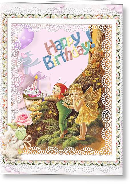 Happy Birthday Greeting With Fairy And And Elf Greeting Card by Ronel Broderick