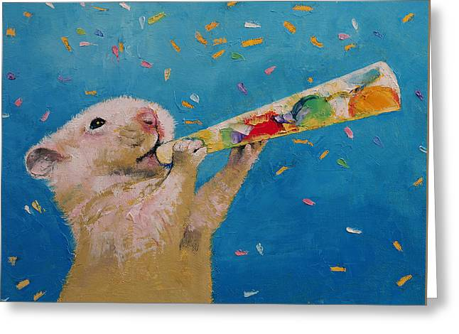 Happy Hamster New Year Greeting Card by Michael Creese