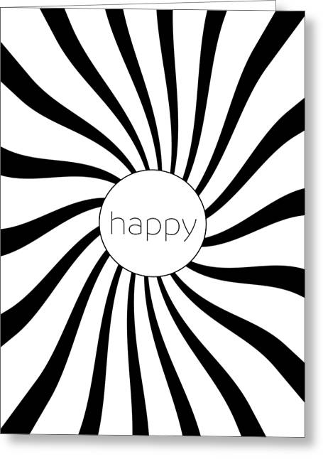 Happy - Black And White Swirl Greeting Card