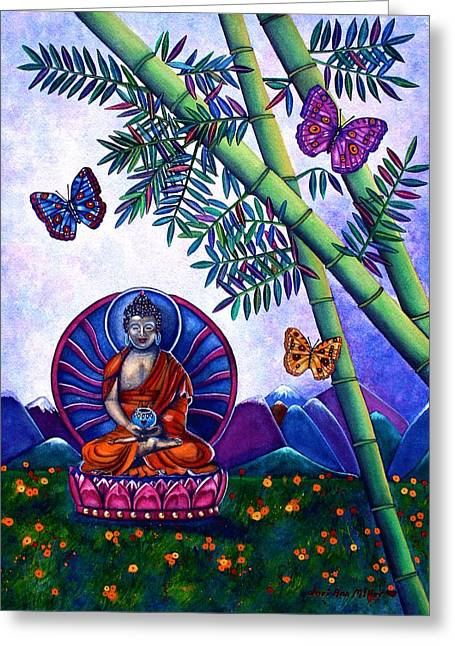 Happy Buddha And Prosperity Bamboo Greeting Card by Lori Miller