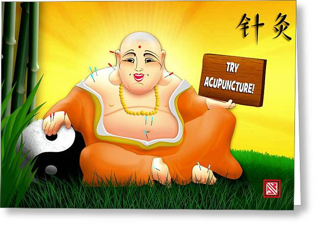 Happy Buddha For Acupuncturists Greeting Card by John Wills