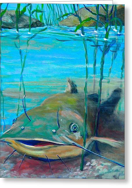 Happy Catfish Greeting Card by Jeanette Jarmon