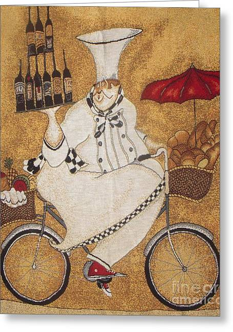 Happy Chef On The Bike Greeting Card by Vesna Antic