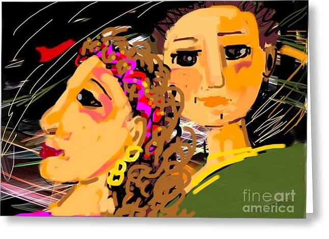 Happy Couple Greeting Card by Elaine Lanoue