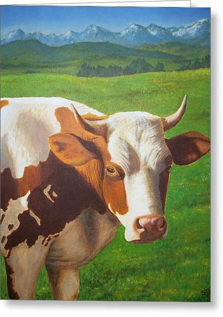 Lifestock Greeting Cards - Happy Cow Greeting Card by Sabina Bonifazi