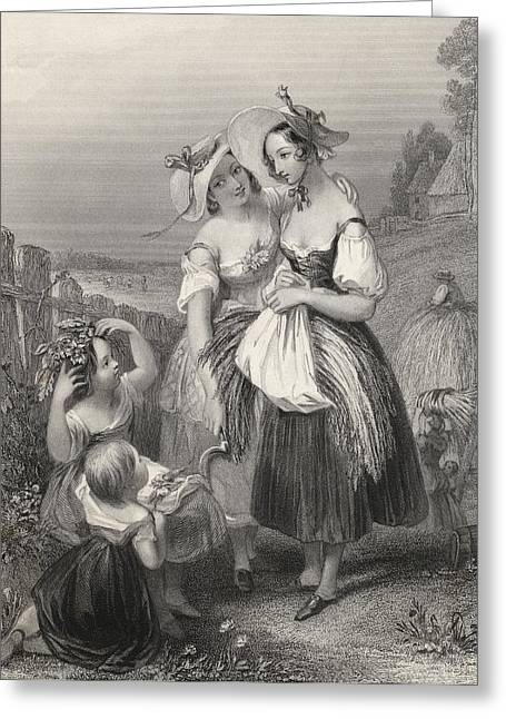 Happy Days Engraved By H. Cook After J Greeting Card