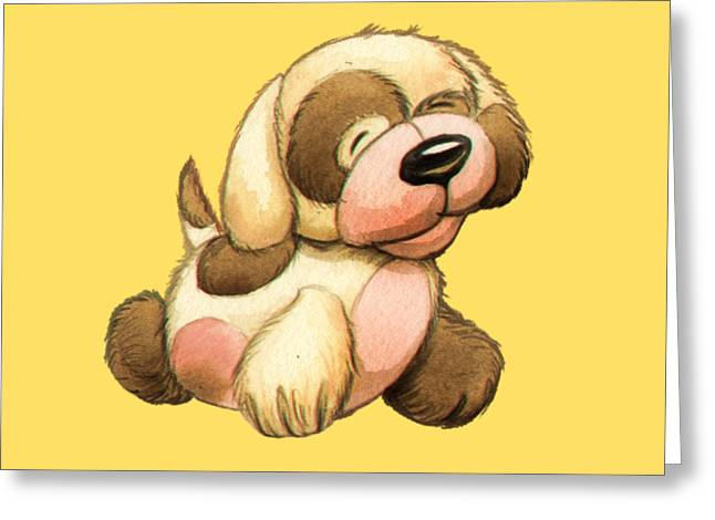 Happy Dog Greeting Card by Andy Catling