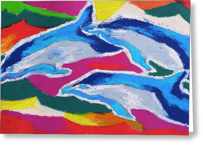 Greeting Card featuring the painting Happy Dolphin Dance by Stephen Anderson