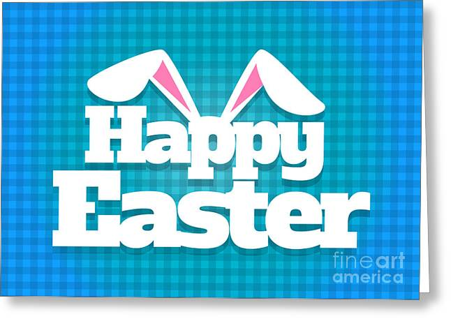 Greeting Card featuring the digital art Happy Easter Blue Plaid by JH Designs