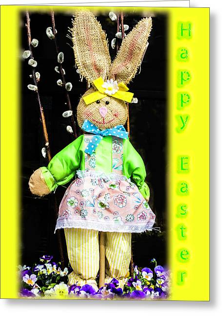 Happy Easter Bunny Girl Decoration Greeting Card Greeting Card by Mother Nature