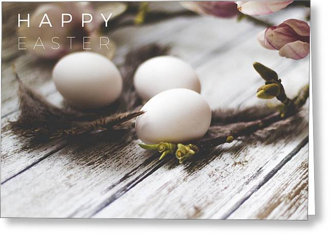 Happy Easter Card With Eggs And Magnolia On The Wooden Background Greeting Card by Aldona Pivoriene