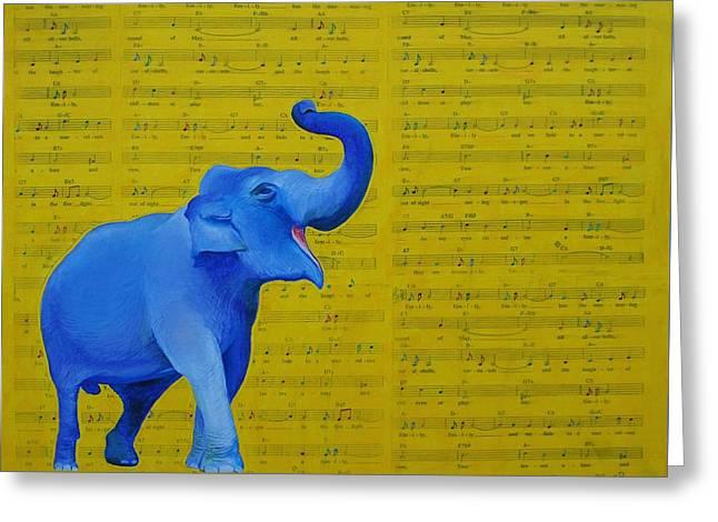 Happy Elephant Singing Emily Greeting Card