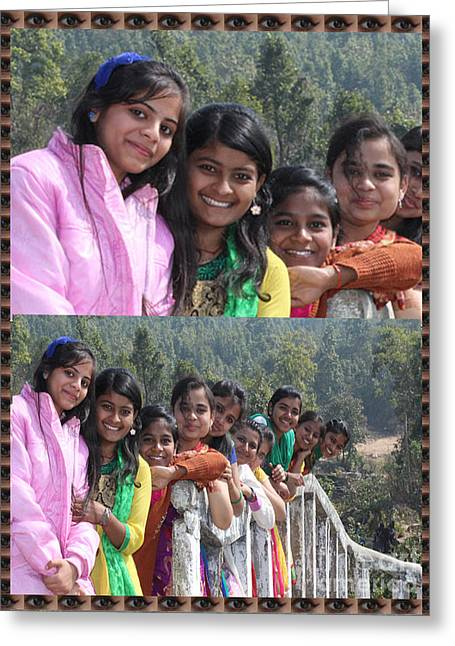 Happy Faces Twinkling Eyes Girls Enjoying A Picnic By Navinjoshi At Fineartamerica.com Pixels.com  Greeting Card