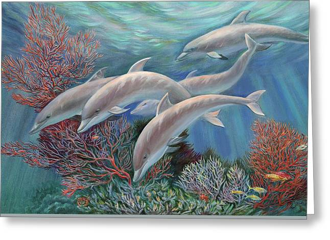 Happy Family - Dolphins Are Awesome Greeting Card by Svitozar Nenyuk