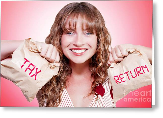 Happy Female Accountant Holding Income Tax Return Greeting Card by Jorgo Photography - Wall Art Gallery
