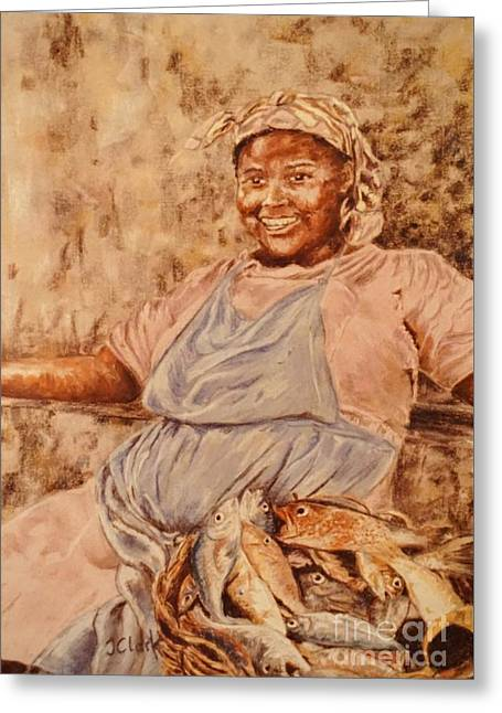 Happy Fish Seller Greeting Card