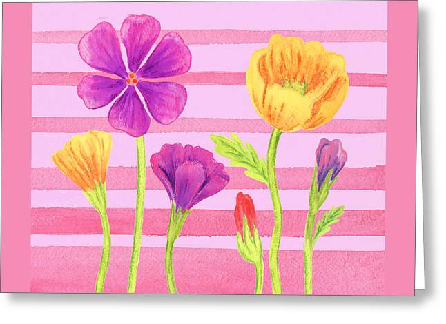 Happy Flowers In The Garden Greeting Card