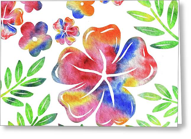 Happy Flowers Watercolor Silhouettes  Greeting Card