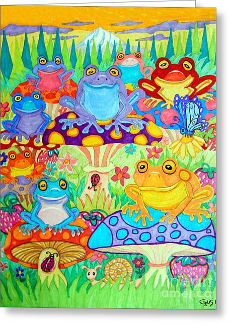 Happy Frogs In Mushroom Valley Greeting Card by Nick Gustafson