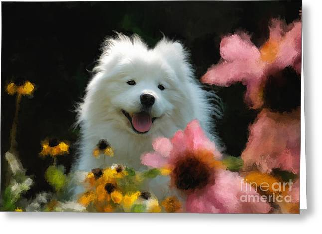 Happy Gal In The Garden Greeting Card