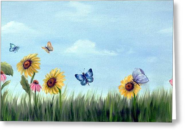 Greeting Card featuring the painting Happy Garden by Carol Sweetwood