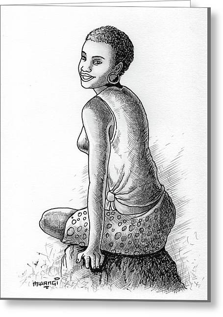 Happy Girl Greeting Card by Anthony Mwangi