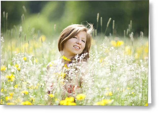 Happy Girl In A Flower Meadow Greeting Card